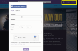 Login & Signup Option For Twitch TV