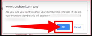 Cancel Premium Membership Confirmation Alert