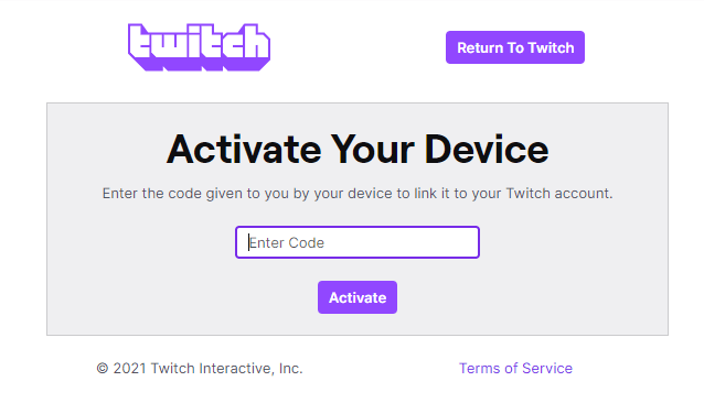 Twitch Activation Code Page