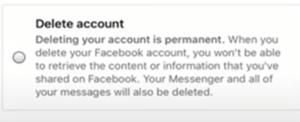 Facebook Profile Delete Account Screen