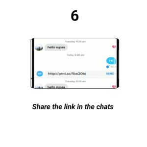 Share the picture link in the tinder conversation chats
