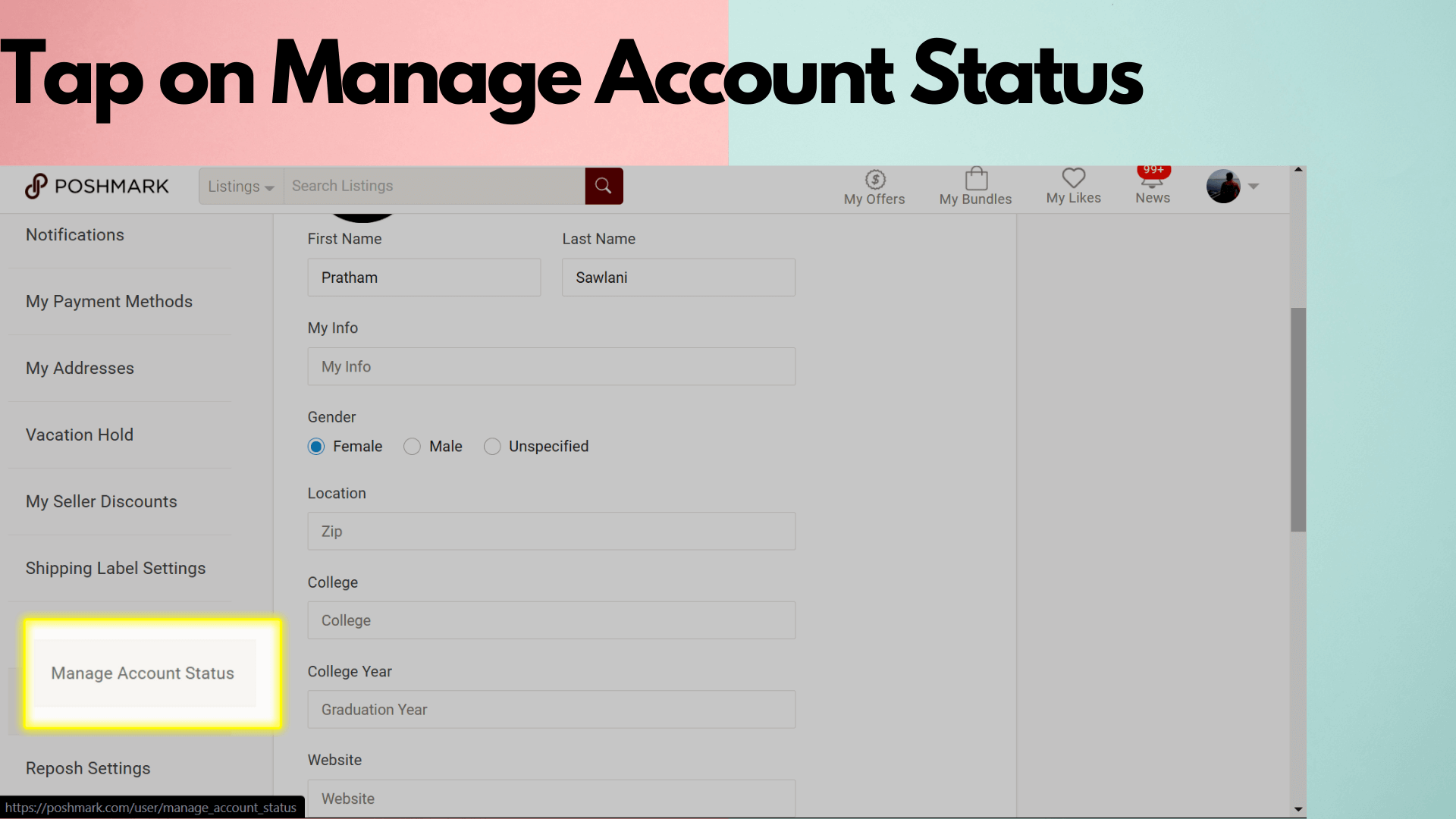 Step 3 Image Tap on manage account status image