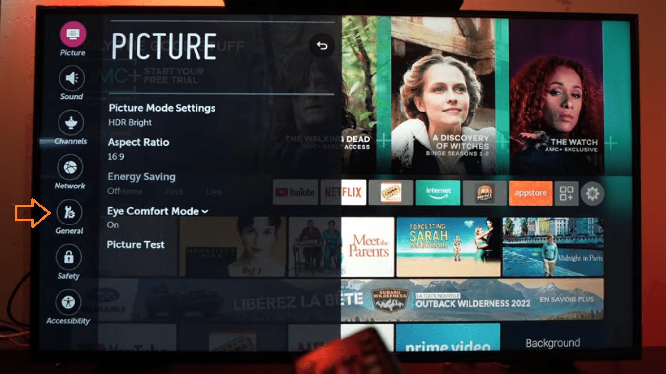 General Options settings pn your TV