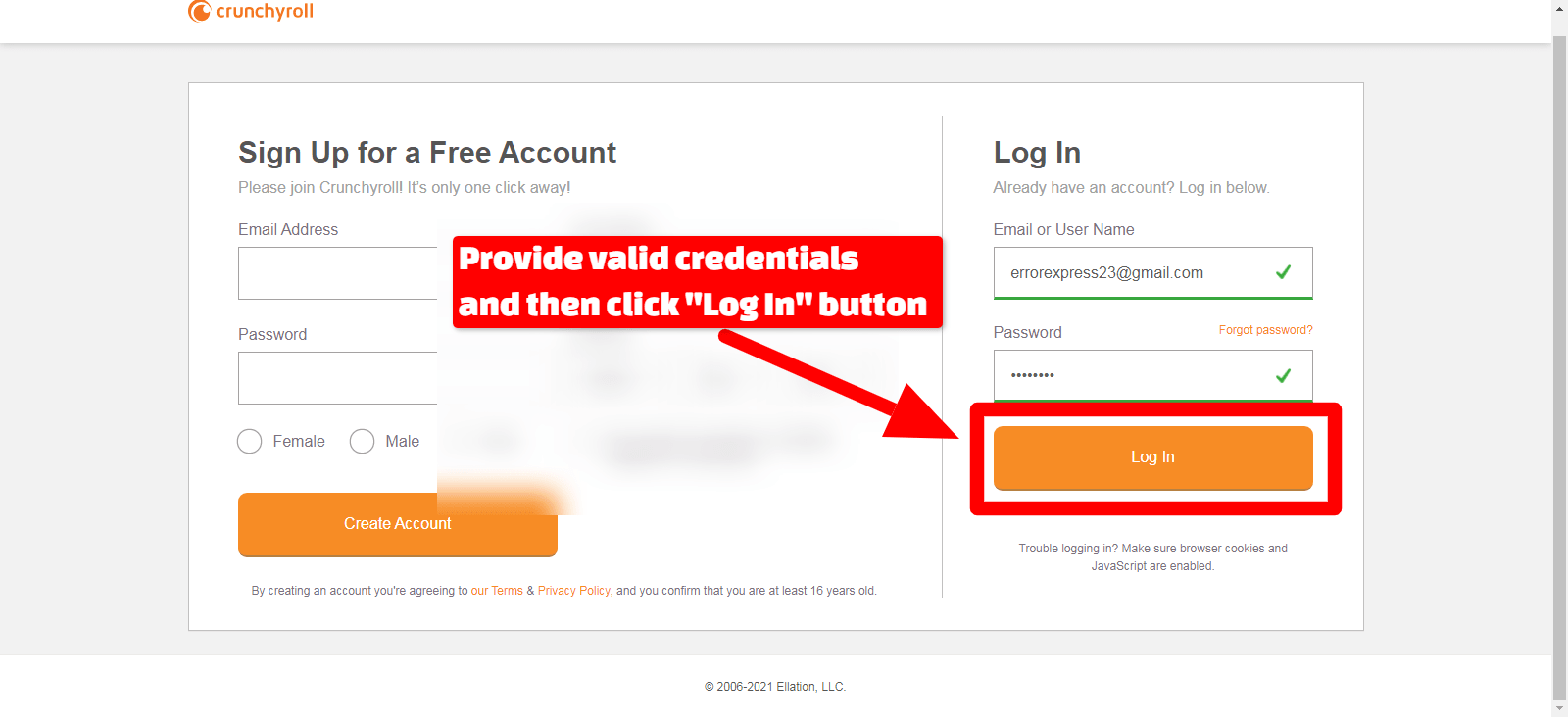 Username password and Login Crunchyroll page