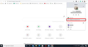 Manage your google account link screen