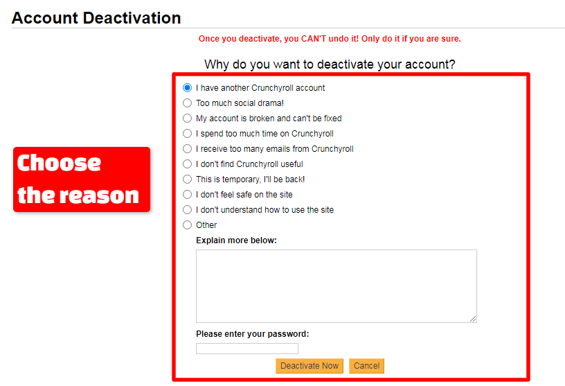 Choose the reason to deactivate Crunchyroll Accunt Screen