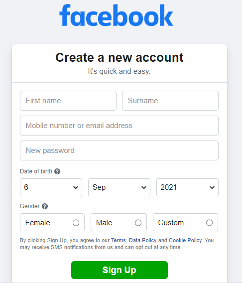 Signup new Facebook account screen