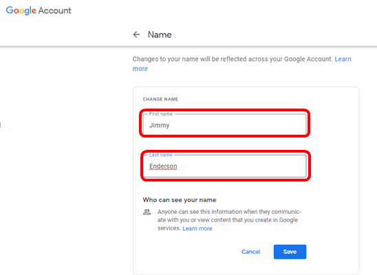 google account first name and last name