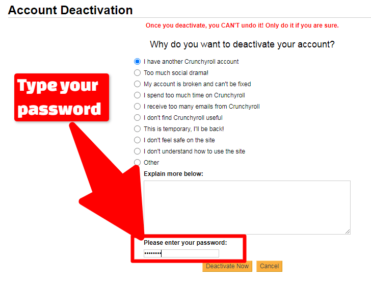 Provide Crunchyroll Password in Password textbox image