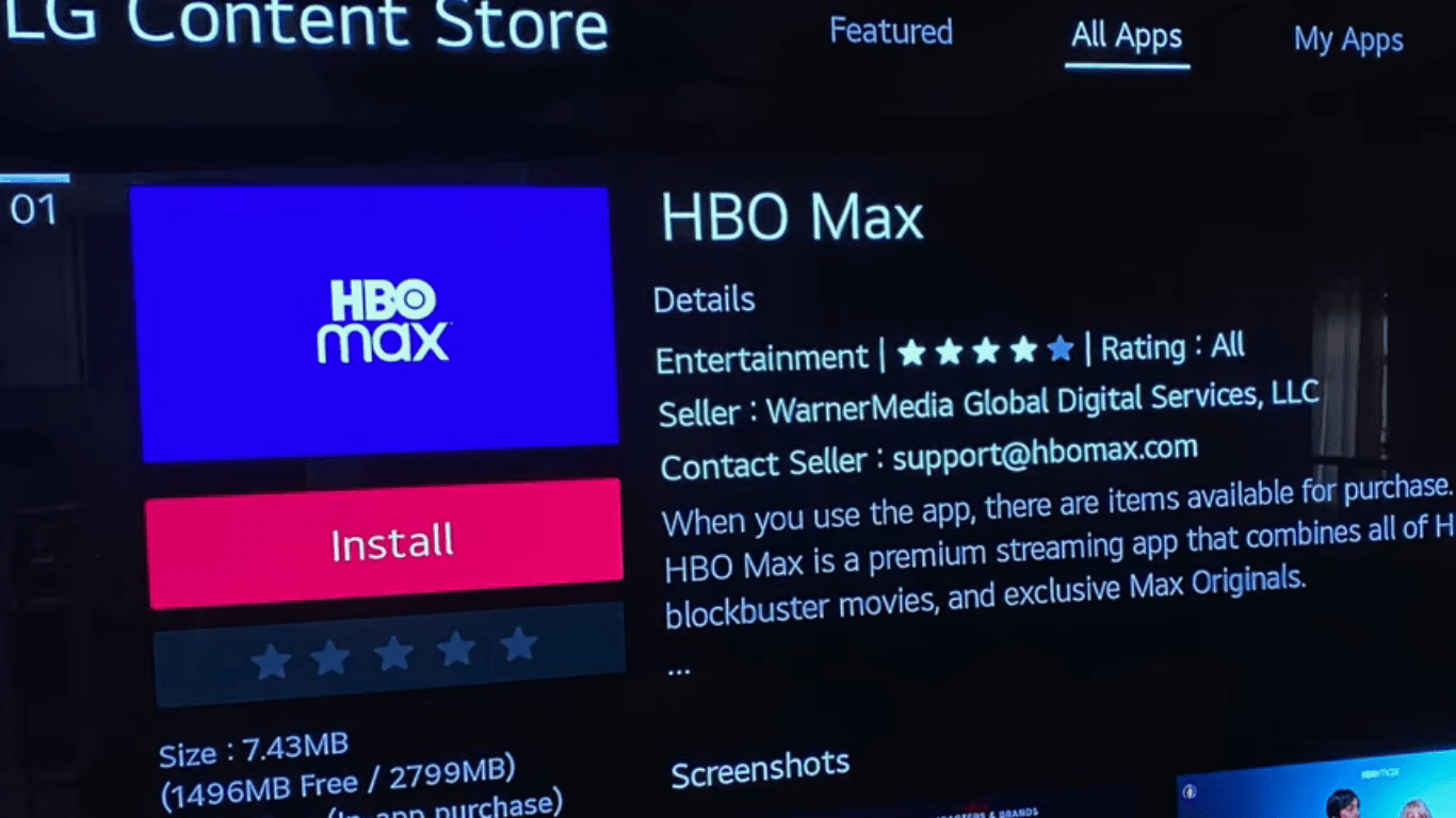HBO MAX Application Installation Page Image
