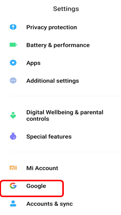 android google option