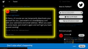 Temporarily Deactivate Depop Account Twitter Screen