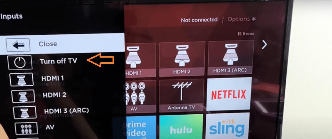 Choose Trun Off TV Option Image