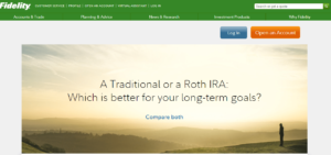 Fidelity Website Homepage Screen
