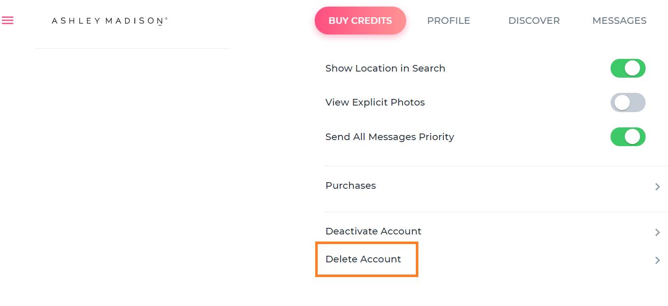 Ashley Madison Delete Account Option