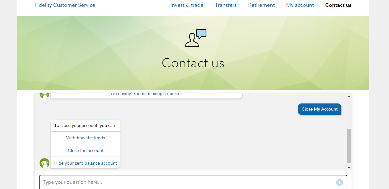 Fidelity Customer Service Contact Us Page Screen