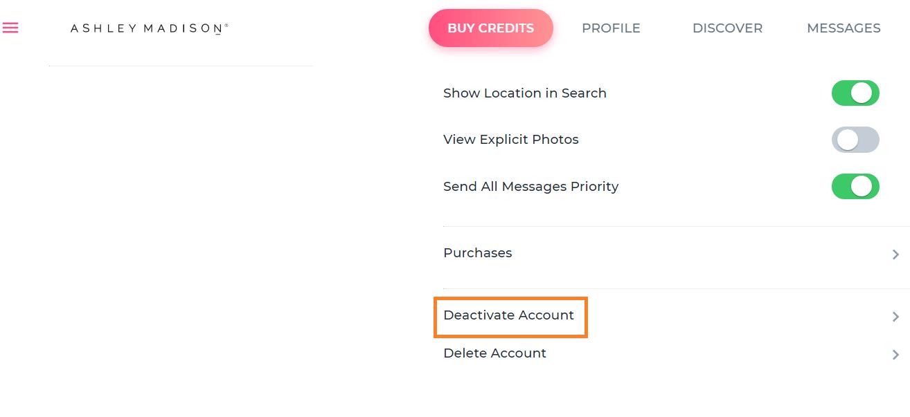 Ashely madison Deactivate Account button