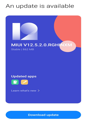 MIUI Update Android Screen