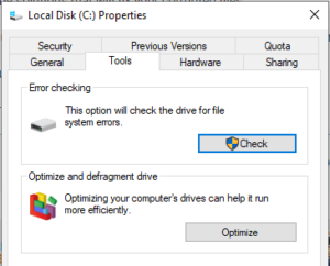 Error Checking Screen