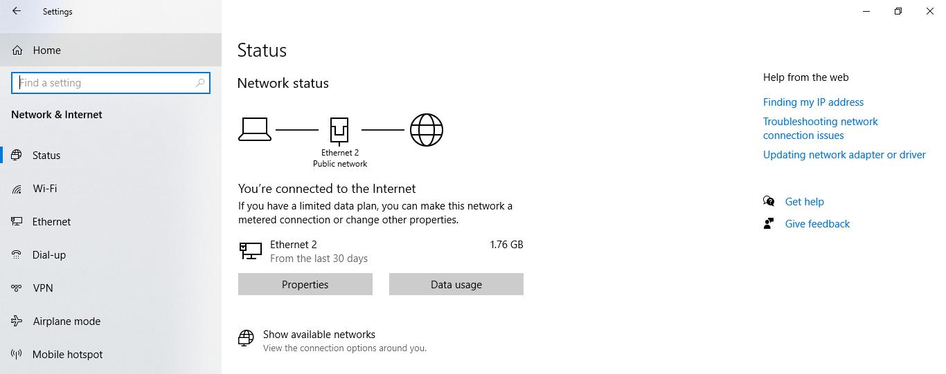 Network & Internet Option Screen