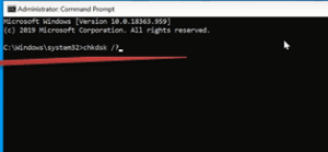 Sfc scannow and chkdsk commands executed in command prompt screen