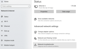 Network Troubleshooter Option Screen