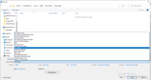 Change the file formatusing file type option windows screen