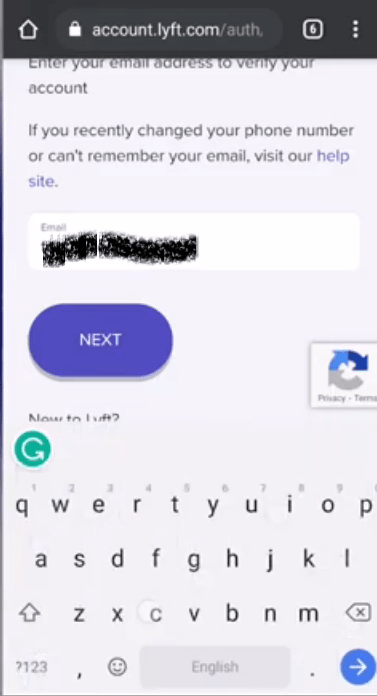 Lyft Account Email textfield and Next button screen