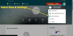 Select data and settings screen image