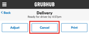 Cancel Grubhub Order Screen